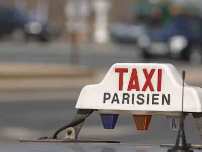 Close-Up of Sign on Roof of Taxi in Paris, France--Photographic Print
