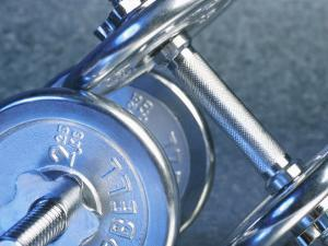 Close-Up of Silver Dumbbells