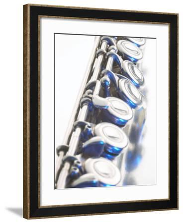 Close-Up of Silver Keys on Flute--Framed Photographic Print