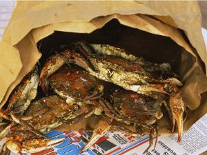 Close-up of Steamed Crabs in a Paper Bag, Maryland, USA