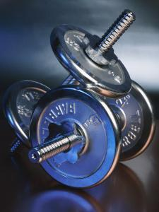 Close-Up of Steel Weightlifting Dumbbells