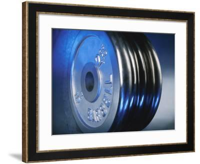 Close-Up of Steel Weightlifting Weights--Framed Photographic Print