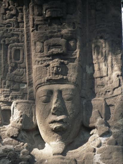 Close-Up of Stele E, Mayan Ruins, Quirigua, Unesco World Heritage Site, Guatemala, Central America-Upperhall-Photographic Print