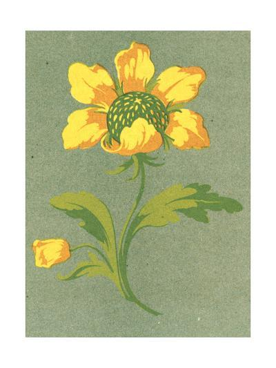 Close-Up of Stylized Yellow Flower Stem--Art Print