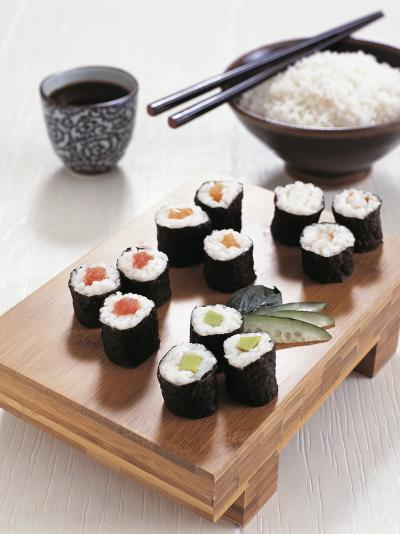 Close-Up of Sushi Rolls with a Bowl of Rice and Chopsticks--Photographic Print