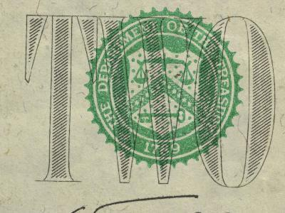 Close-Up of Text and Symbol on Two Dollar Bill--Photographic Print