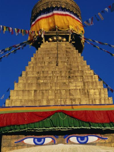Close up of the Buddhist Stupa at Bodnath (Bodhnath) (Boudhanath), Kathmandu Valley, Nepal, Asia-Bruno Morandi-Photographic Print
