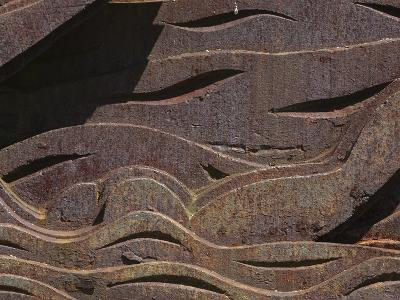 Close-up of the Carved Detail in Rusty Metal--Photographic Print