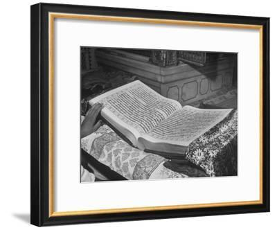 Close Up of the Granath, Compiled in Gurmukhi Script in 1600 by the Fifth Leader of the Sikhs-Margaret Bourke-White-Framed Premium Photographic Print
