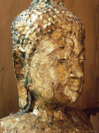 Close-Up of the Head of a Statue of the Buddha Covered in Gold Leaf, Thailand-Gavin Hellier-Photographic Print