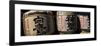 Close-up of Three Dedicated Sake Barrels, Imamiya Temple, Kita-Ku, Kyoto, Honshu, Japan--Framed Photographic Print