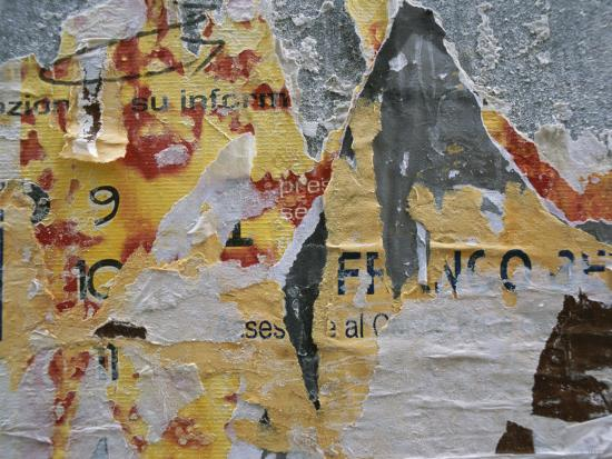 Close-Up of Torn Posters on a Wall in Venice-Todd Gipstein-Photographic Print
