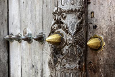 Close-Up of Traditional Carved Door, Stone Town, Zanzibar, Tanzania-Alida Latham-Photographic Print