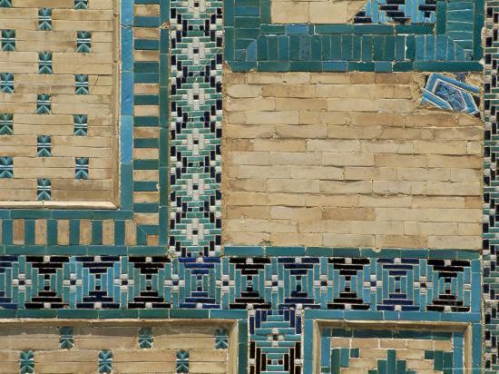 Close-Up of Turquoise Ceramics, Shah-I-Zinda Mausoleum, Samarkand, Uzbekistan, Central Asia-Upperhall-Photographic Print