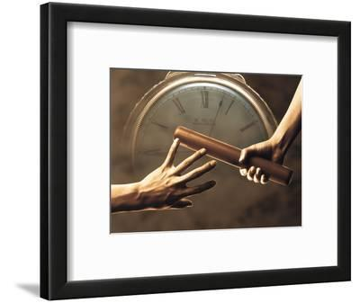 Close Up of Two Runners Hands Passing the Baton in Relay Race in Front of Old European Clock Face