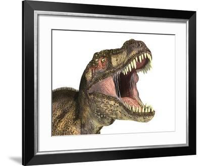 Close-Up of Tyrannosaurus Rex Dinosaur with Mouth Open--Framed Art Print