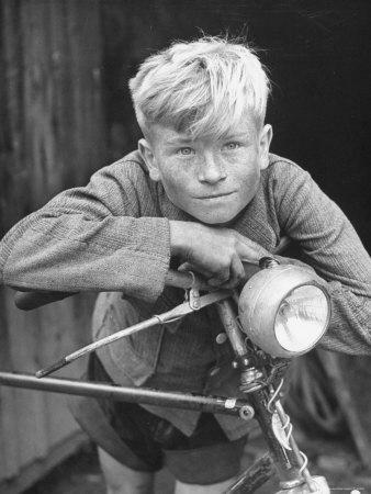 Close Up of Village Boy Posing with His Bicycle-Walter Sanders-Photographic Print