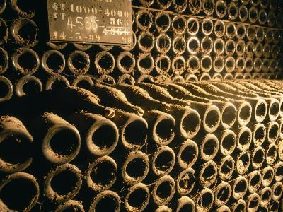 Close-up of Wine Bottles in a Cellar of Bollinger, Ay, Champagne, France--Photographic Print