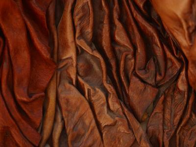 Close-Up of Wrinkled Brown Leather--Photographic Print
