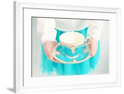 Close Up of Young Girl Holding Cup and Saucer-Susannah Tucker-Framed Photographic Print