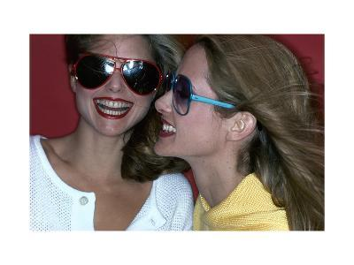 Close-Up on Two Models with Smiles, a Pair of Red Plastic Bon-Lon Sunglasses by Bonneau-Jacques Malignon-Premium Giclee Print