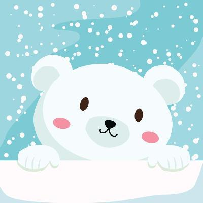 Close Up Picture of a Cute Polar Bear Hold on to the Ice in Snow Day-anitnov-Art Print