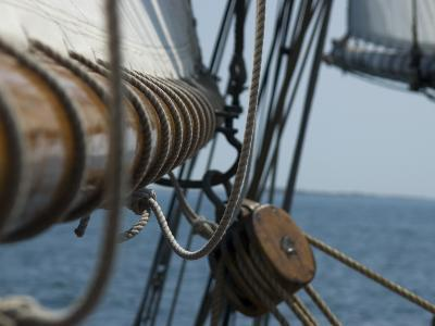 Close Up View of a Mast and Block of a Tall Ship-Todd Gipstein-Photographic Print