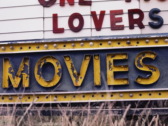 Close View of an Old Drive-In Theater Sign-Stephen St^ John-Photographic Print
