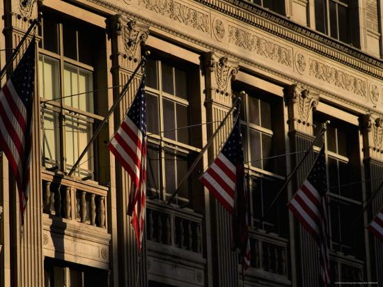 Close View of Flags Hanging on Building in New York-Todd Gipstein-Photographic Print