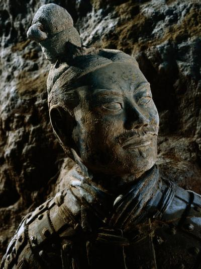 Close View of the Head of One of the Terra-Cotta Warriors-O^ Louis Mazzatenta-Photographic Print