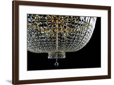 Closeup Contemporary Glass Chandelier- mj_23-Framed Photographic Print