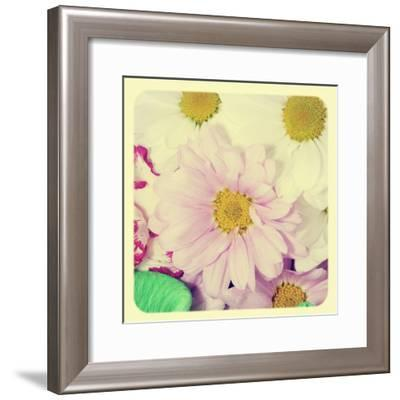Closeup Of A Flower Bouquet With Daisies And Carnations, With A Retro Effect-nito-Framed Premium Giclee Print