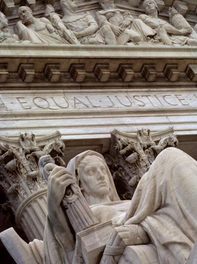 Closeup of a Statue at the Supreme Court Building, Washington, D.C.-Kenneth Garrett-Photographic Print