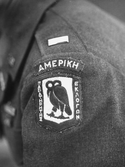 Closeup of Patch Being Worn by Us Members of the Allied Mission for Observing Greek Elections--Photographic Print