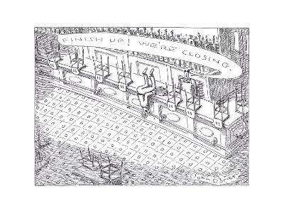Closing time at bar - Cartoon-John O'brien-Premium Giclee Print