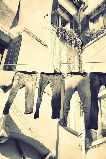 Clothes Airing Outdoor in Venice, Italy. Black and White, Instagram Style Filter-Zoom-zoom-Photographic Print