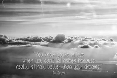 Cloud Formation from Out a Plane Window in Black and White with Dr. Seuss Quote