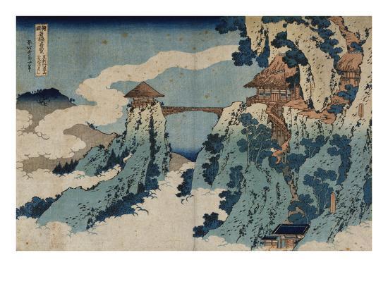 Cloud Hanging Bridge at Mount Gyodo, Ashikaga, from the Series 'Rare Views of Famous Japanese…-Katsushika Hokusai-Giclee Print