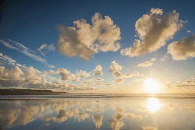 Cloud Reflections at Constantine Bay at Sunset, Cornwall, England, United Kingdom, Europe-Matthew-Photographic Print