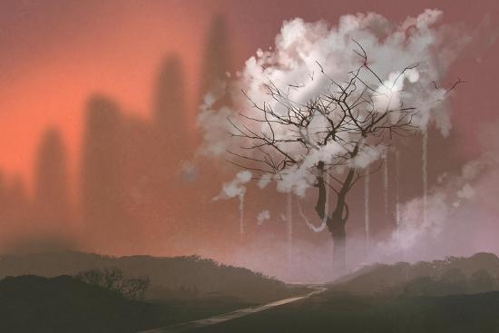 Cloud Tree,Path to Heaven,Illustration Painting-Tithi Luadthong-Art Print