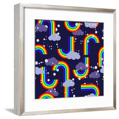 Clouds and Rainbow Cartoon Wallpaper- tomka-Framed Premium Giclee Print