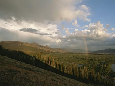 Clouds and Rainbow over Thoroughfare and Southeast Arm of Yellowstone Lake-Tom Murphy-Photographic Print