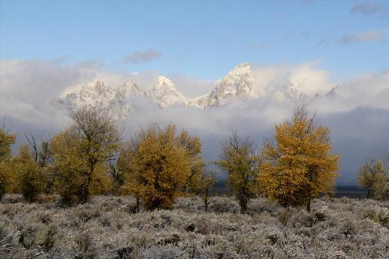 Clouds Clear from the Tetons after a Fall Storm-Barrett Hedges-Photographic Print