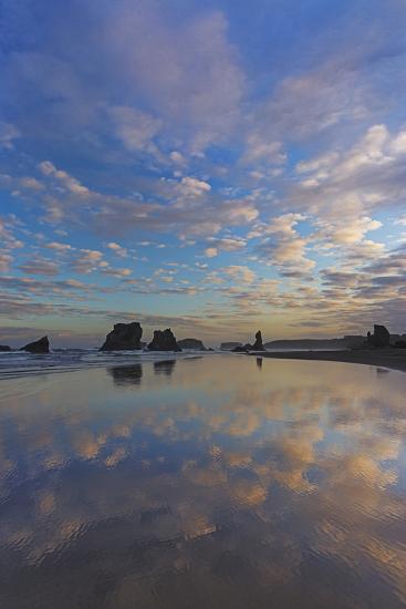 Clouds Reflect in Wet Sand at Sunrise at Bandon Beach, Bandon, Oregon-Chuck Haney-Photographic Print