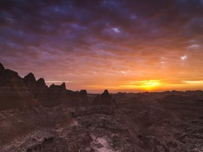 Cloudy Badlands Sunrise-Mike Cavaroc-Photographic Print