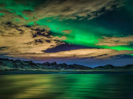 Cloudy Evening with Aurora Borealis or Northern Lights, Kleifarvatn, Iceland--Photographic Print