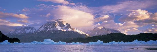 Cloudy Sky over Mountains, Lago Grey, Torres del Paine National Park, Patagonia, Chile--Photographic Print