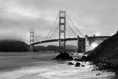 Cloudy sunset, ocean waves in San Francisco at Golden Gate Bridge from Marshall Beach-David Chang-Photographic Print
