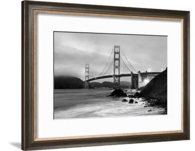 Cloudy sunset, ocean waves in San Francisco at Golden Gate Bridge from Marshall Beach-David Chang-Framed Photographic Print