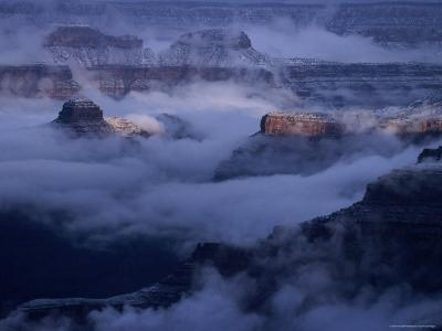 Cloudy, Winters Morning on the South Rim, Grand Canyon National Park, Arizona-Christer Fredriksson-Photographic Print